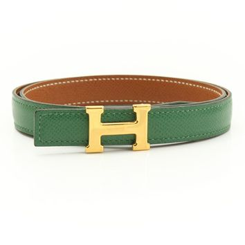 AUTHENTIC HERMES MINI MINI CONSTANCE H BELT BROWN GREEN Z GRADE A USED-AT