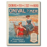 Postcard with Vintage Poster Print from France