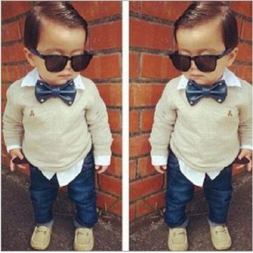 Handsome Boy's 2 Piece Set. Bow Tie Shirt + Jeans. Sizes 24M To 7Y