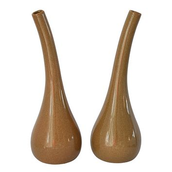 Royal Haeger Modern Simplicity Bulbous Vases Pair 040-76 Natural Decor MCM Style Minimalist