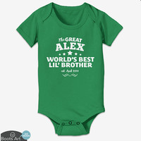 Custom World's Best Little Brother Shirt or Onesuit - Personalized Little Brother Shirt customized with child's name. Great baby shower gift.