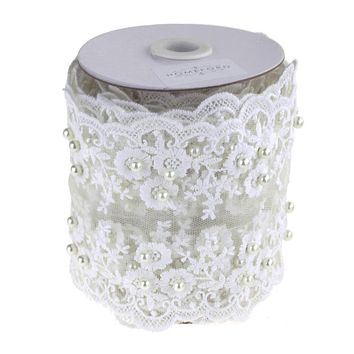 Floral Lace Trim with Scattered Pearls Ribbon, White, 4-Inch, 5 Yards