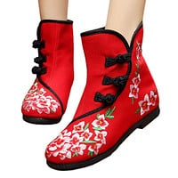Vintage Beijing Cloth Shoes Embroidered Boots 12-02   red with cotton  35