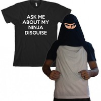 Ninja Face T Shirt Cool Ninja Disguise Funny Shirt S