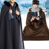 Winter warm Buddhism zen monks meditation cloak nun uniforms lay robe cape Buddhist  kung fu clothing