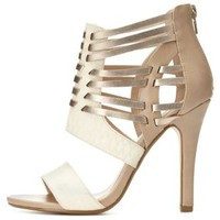 Color Block Huarache Caged Strappy Heels