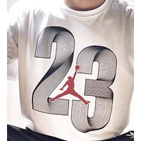 Jordan New fashion letter people print couple top t-shirt White