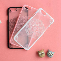 Retro embossed floral transparent hard mobile phone case for iphone 5 5s SE 6 6s 6plus 6s plus + Nice gift   box!