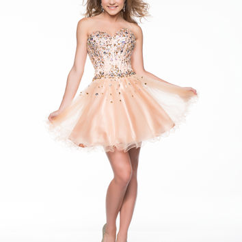 Nude Beaded Tulle Strapless Sweetheart Short Dress Homecoming 2014