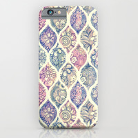Patterned & Painted Floral Ogee in Vintage Tones iPhone & iPod Case by Micklyn