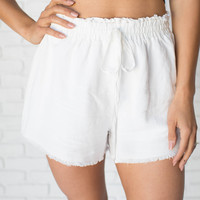Linen Fray White Shorts