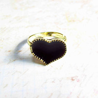 Adjustable Black Heart Ring Stitches - Gold - Adjustable