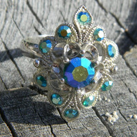 Vintage Filigree Blue Green Crystal Silver Ring