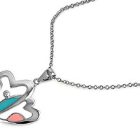 Turquoise / Pink Mother of Pearll Heart CZ Pendant Necklace