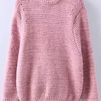Pink Long Sleeve Knit Sweater