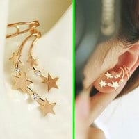 Star Shower Wrapping Ear Cuff (Gold, Single, No Piercing)