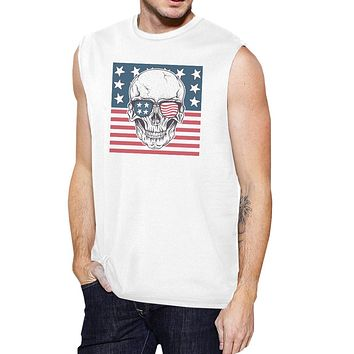 Skull American Flag Mens White Muscle Tee Crew Neck Line Cotton