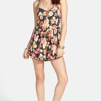 Mimi Chica Floral Print Faux Suede Romper (Juniors) | Nordstrom