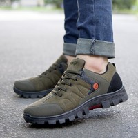 2018 Autumn Men Waterproof Hiking Shoes Non-slip Outdoor Climbing Sneakers for Male Solid Soft Bottom Walking Shoes Travel Shoes