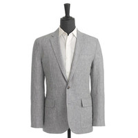J.Crew Mens Ludlow Sportcoat In Grey Checked Irish Linen