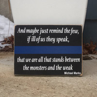 Thin Blue Line, Police Officer Gift, Simply Fontastic, We Bleed Blue, Police Gift, Wooden Sign, Police Family, Cop gift,