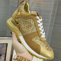 Louis Vuitton { LV } fashion Sequins lie fallow men and women Gym shoes