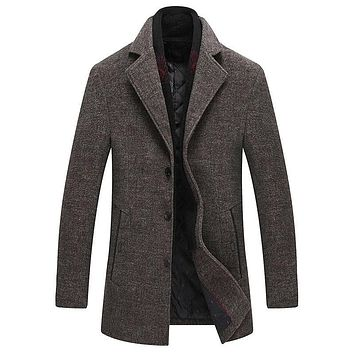 Solid Color Wool Blends Woolen Pea Coat Male Trench Coat