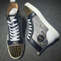 Christian Louboutin CL Lou Spikes Style #2186 Sneakers Fashion Shoes Best Deal Online