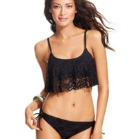 Kenneth Cole Reaction Cropped Crochet Bikini Top & Side-Tie Bikini Bottom | macys.com