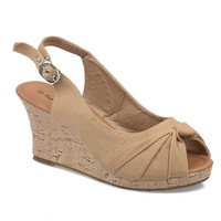 Tan Peep Toe Slingback Cork Wedges