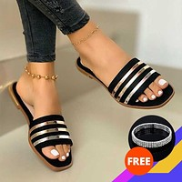 MCCKLE Fashion Slippers for Women Summer Slip On PU Ladies Flat Shoes Casual Woman Striped Sandals Female Comfort Slides 2020