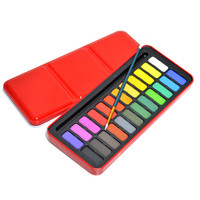 24 Colors Portable Solid Watercolor Set Solid Water Color Paints Set with Paintbrush Metal Tin Box for Drawing Painting Supplies