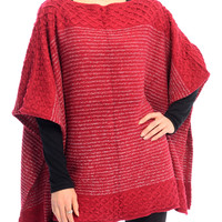 Red Round Neck Knitted Poncho