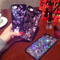 Bling Glitter Heart sequins Flowing Liquid Phone Case For iPhone 7 6 6S Plus Hard Phone Cover For iPhone 6 7 6S Back Capa lina
