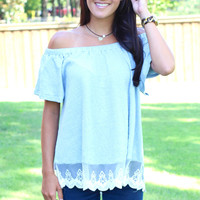 Off Shoulder Lace Trim Flounce Top {Sky}