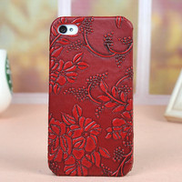 Fashion Retro Relief Red Flower Case for Iphone 4/4s/5