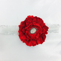 Red Headband for baby Girl, Babtism head flower, Gift for baby Girl from Grandmother, Photo props for little Girls Flower Girl Red Headband