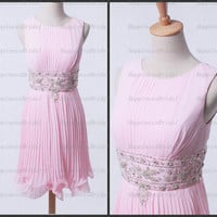 A-line Jewel Knee-length Chiffon Applique Pink  Short Bridesmaid Dress Prom Dress Formal Evening Dress Party Dress Cocktail Dress 2013