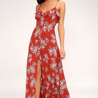 Bloom On Rust Red Floral Print Maxi Dress