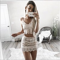 Fashion Sequin Strap Wave Stripe Two Pieces of Short Skirt