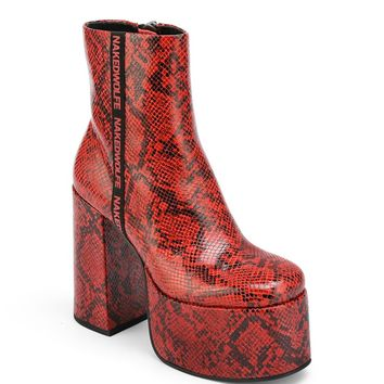 Posh Red Snake Leather