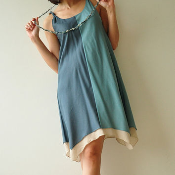 Two tone part II.... Cream-Blue Cotton Dress