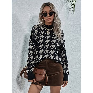 Stand Collar Houndstooth Drop Shoulder Sweater