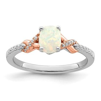 14k Two-Tone Gold Polished Oval Opal & Real Diamond Ring