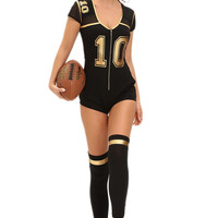 Club Football Sexy Costume Halloween Costumes For Black Hollow Out Mesh Stitching Short Sleeve Bodycon Jumpsuit SM6
