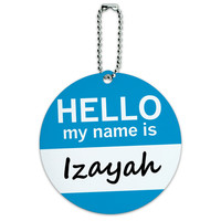 Izayah Hello My Name Is Round ID Card Luggage Tag