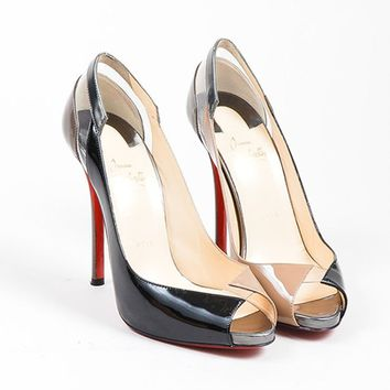 HCXX Black and Taupe Christian Louboutin   Technicatina 120   Peep Toe Patent Heels