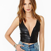 Sexy Deep V-neck PU Leather Top