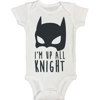 """Batman Inspired Baby Bodysuit """"Im Up All Knight"""" RB Clothing Company"""