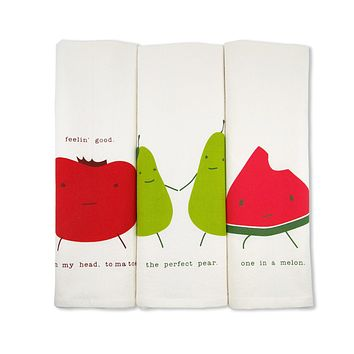 Funny Organic Cotton Tea Towels Gift Set